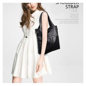 Image 4 - Rodful grande macio casual tote bolsa de ombro bolsas femininas couro feminino grande china senhoras sacos de mão para mulher 2020 preto/cinza