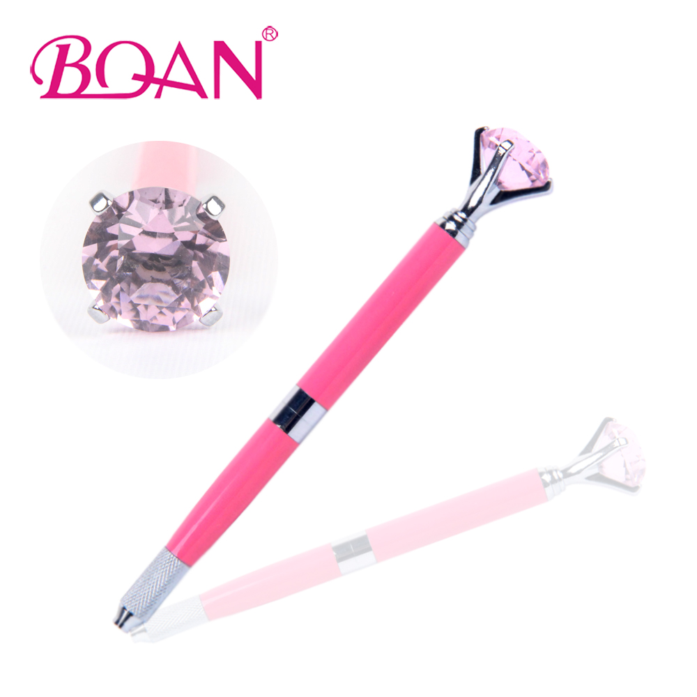 2017 New Design Dual Heads Manual Tattoo Pen Permanent Pink Metal Handle With Big Purple Diamond