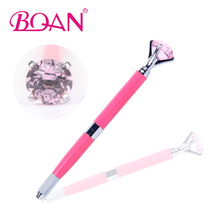 2017 New Design Dual-Heads Manual Tattoo Pen Permanent Pink Metal Handle With Big Purple Diamond Makeup Machine