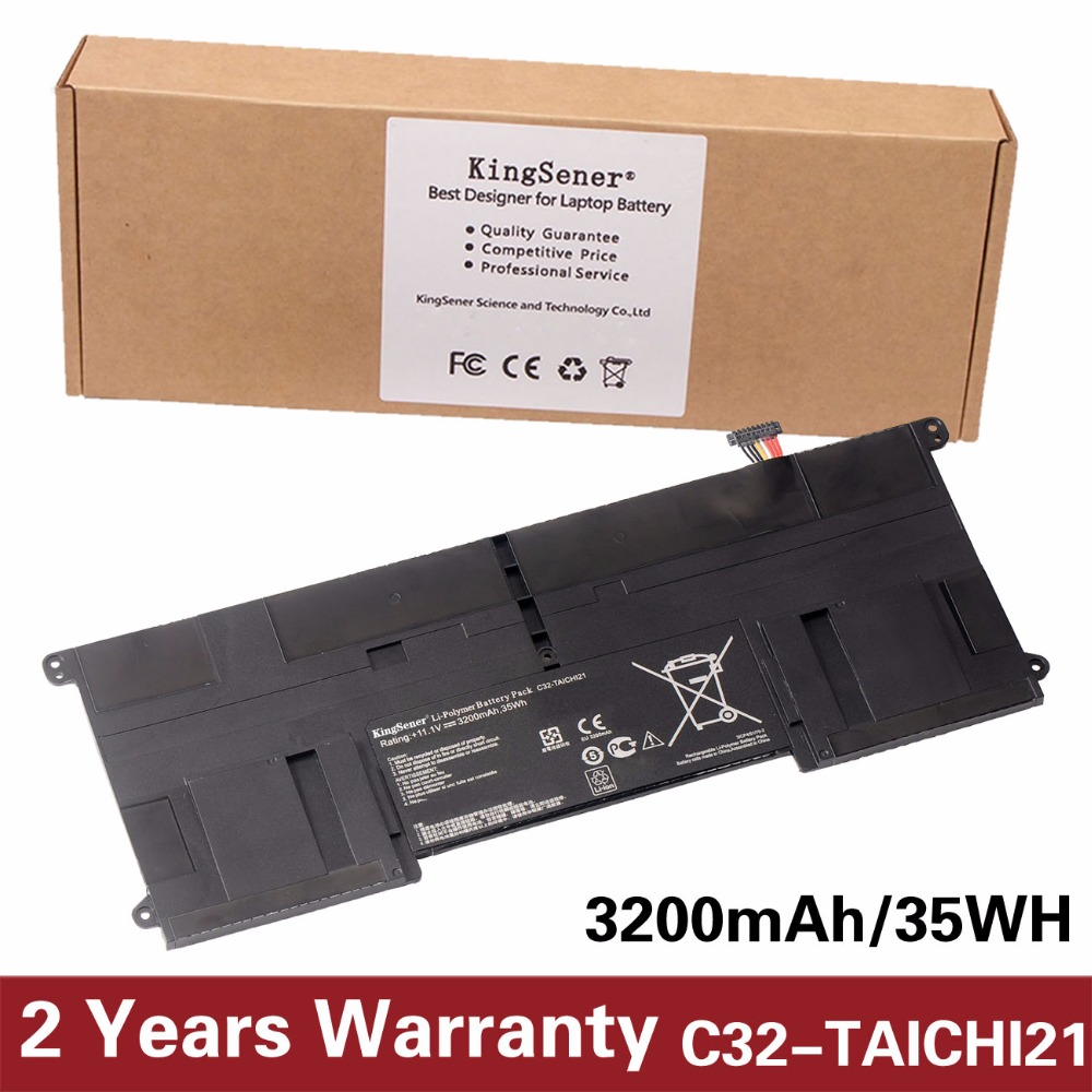 KingSener New C32-TAICHI21 Laptop Battery for ASUS Ultrabook TAICHI21 TAICHI 21 C32-TAICHI21 11.1V 3200mAh Free 2 Years Warranty [special price] new laptop battery for asus x301 x301a x301u x401 x401a x401u x501 x501a x501u a31 x401 a41 x401 free shipping
