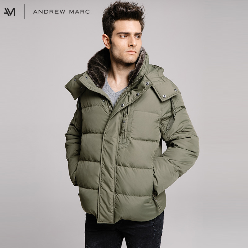 ANDREWMARC 2017 Men Thick Men Down Jacket Coat Fur Collar Warm Cold Winter Male Snow Down Coats TM7AD285