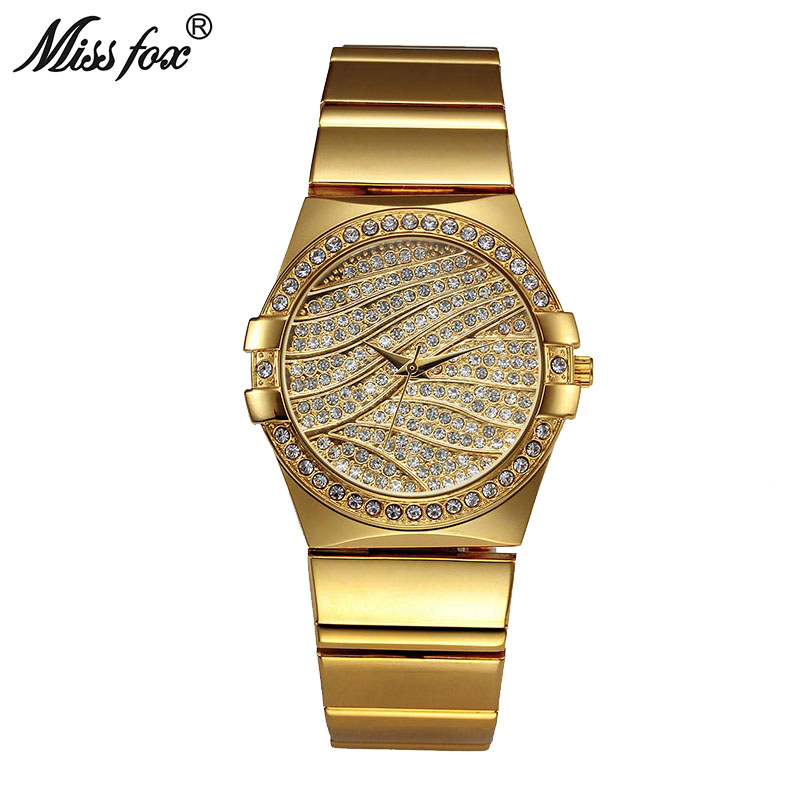 MISSFOX Weave Gold Watch Women Famous Brand Quartz Golden Clock Ladies Designer Watches Luxury Diamond Watch C Relogio Feminino