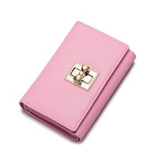 2016 New Fashion Bowknot Women's Cowhide Leather Card Holder Trifold Wallet Girls Small Purse
