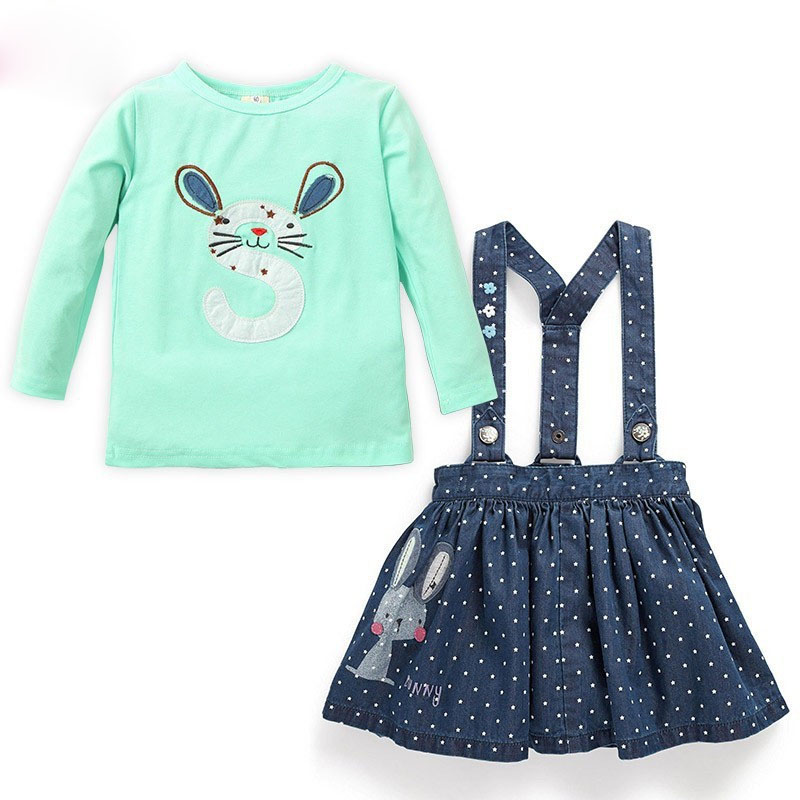 Children clothing sets 2PC Baby Girls cartoon cotton Rabbit Tops+Dot Denim Strap skirt Overalls Outfit green fashion sweet 2-6T retail 2014 2pc baby girls kids rabbit tops dot denim overalls dresses outfit clothes children s clothing set suits