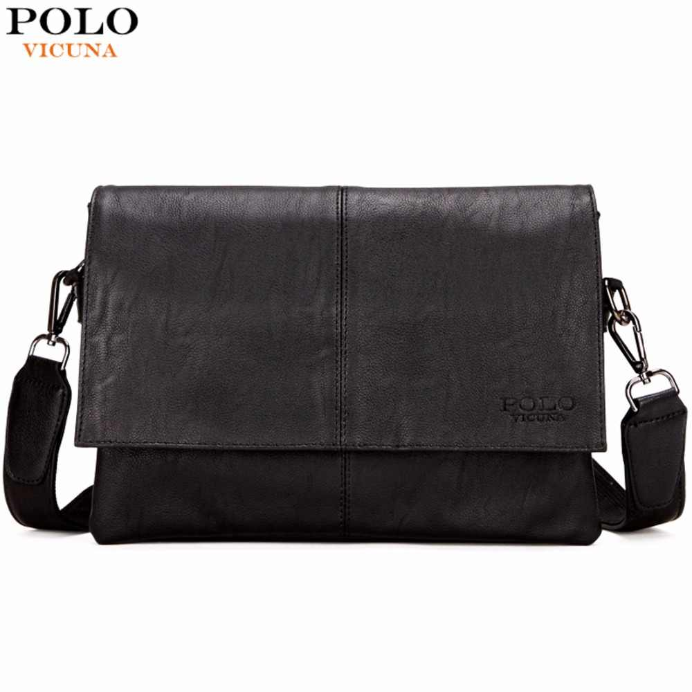 0f540396e0 VICUNA POLO Casual Fashion Black Leather Man Bag Famous Brand Envelope Bag  Men Messenger Bag Leisure