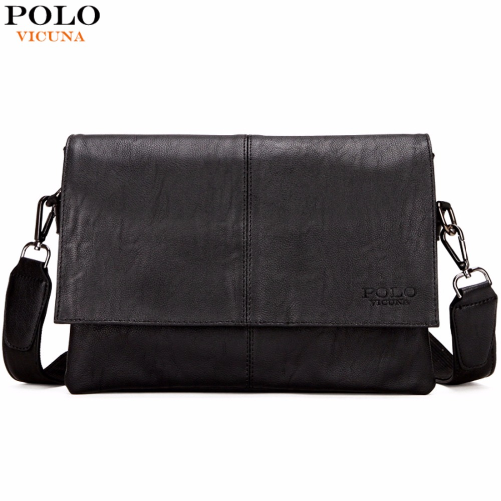 VICUNA POLO Casual Fashion Black Leather Man Bag Famous Brand Envelope Bag Men Messenger Bag Leisure Mens Crossbody Bag Handbags new casual business leather mens messenger bag hot sell famous brand design leather men bag vintage fashion mens cross body bag