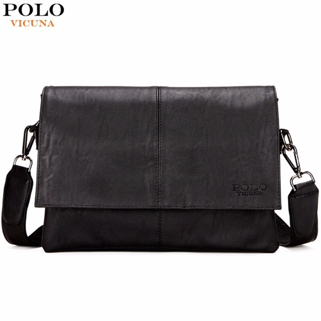 9eadf92d96 VICUNA POLO Casual Fashion Black Leather Man Bag Famous Brand Envelope Bag  Men Messenger Bag Leisure Mens Crossbody Bag Handbags