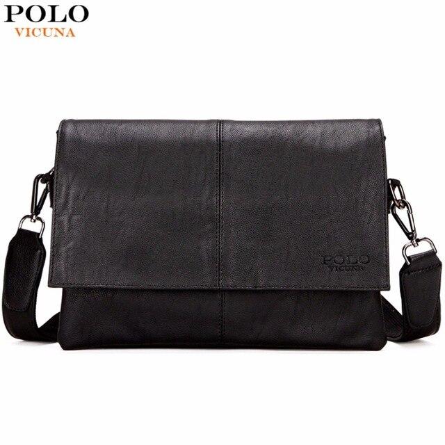 Vicuna polo novo homem da mala de couro preto ocasional famosa marca saco envelope saco do mensageiro dos homens de lazer dos homens saco crossbody bolsas