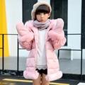 Girls padded jacket 2016 winter clothing new fashion baby girls hooded coat big virgin 5/6/7/8/9/10/11/12/13/14 years