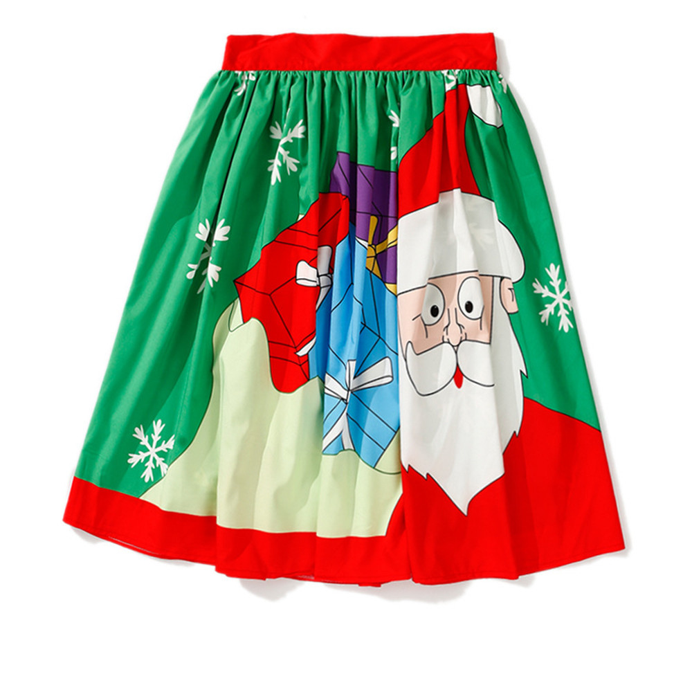 Ladies' Large Size Skirt Dress Red santa printing Christmas Halloween Party Prom Costume Swing Dress Party Cosplay Costume