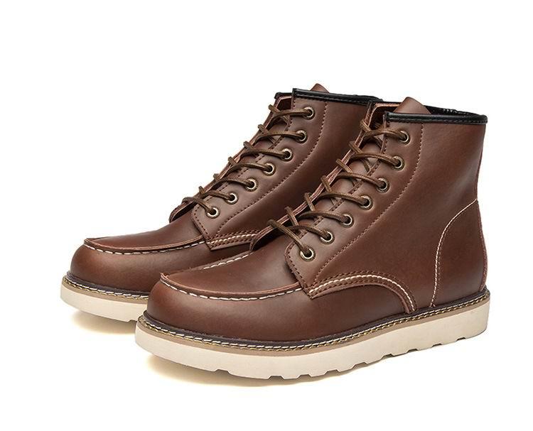 ERRFC جديد وصول رجل أسود حذاء برقبة للعمل أزياء الشتاء الدافئة رجل البني دراجة نارية حذاء من الجلد الذكور منصة تتجه الأحذية 46-في أحذية للدراجات النارية من أحذية على  مجموعة 3