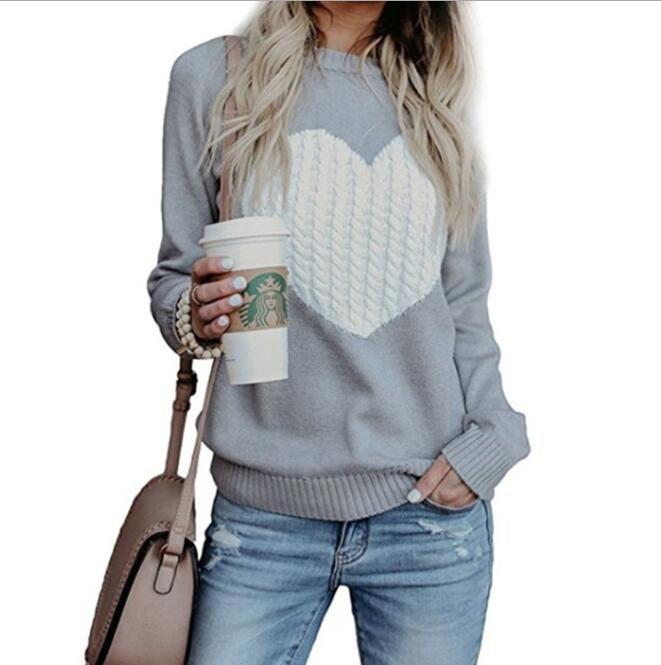 Autumn Winter Women Sweaters Pullovers Long Sleeve Sweater Slim Heart Knitted Jumpers Sueter Mujer