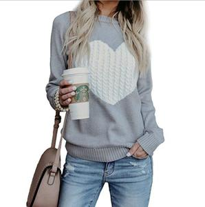 Autumn Winter Women Sweaters Pullovers Long Sleeve Sweater Slim Heart Knitted Jumpers Sueter Mujer(China)