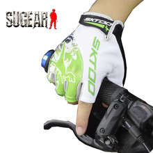 SKTOO Summer Cycling Gloves Bicycle Bike Gloves Half Finger Breathable Multifunctional Fitness Guantes De Ciclismo Green