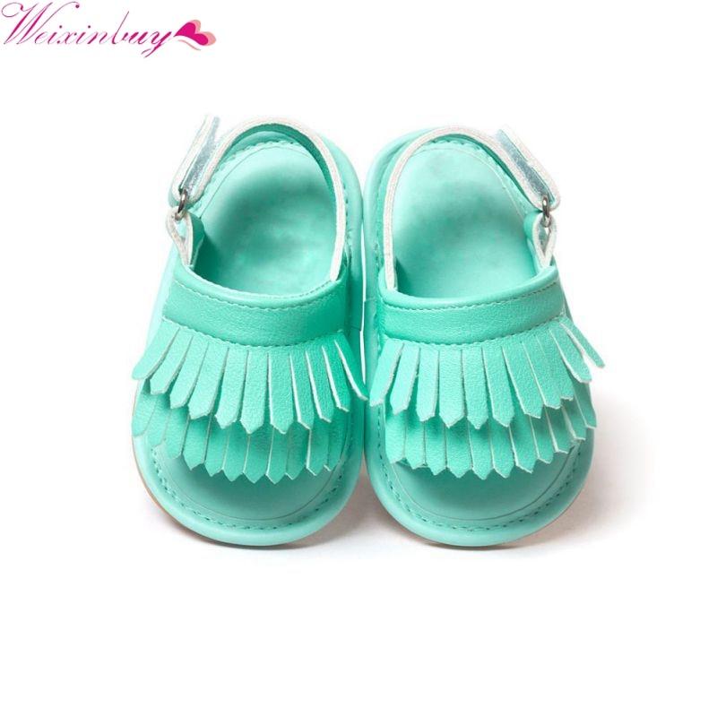 Летняя одежда для маленьких детская обувь для девочек из искусственной кожи с кисточками мягкая подошва кроватки противоскользящие Обувь ...