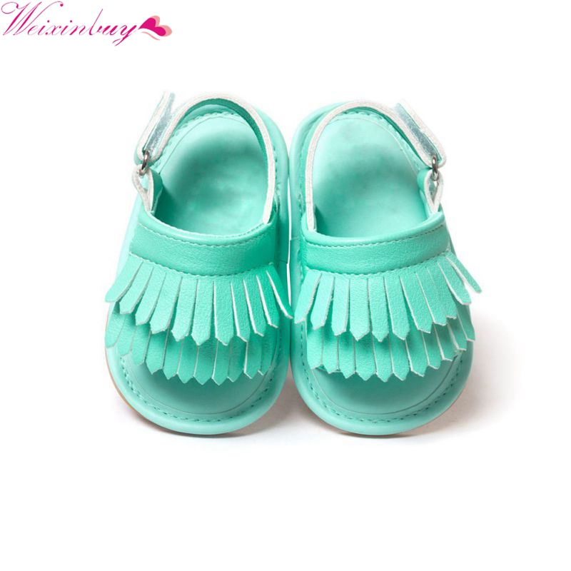 Summer Infant Baby Baby Girls Shoes PU Leather Tassel Soft Bottom Crib Anti-slip Shoes ...