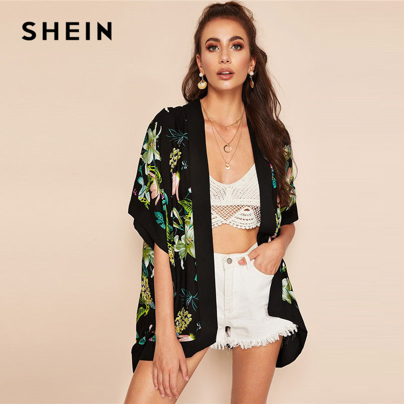 SHEIN Lady Casual Botanical Floral Print Open Front Boho Kimono Cardigan Women Summer Beach Half Sleeve Long Kimono Tops