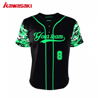 FOR PROFESSIONAL BASEBALL GAME Green Camo Sleeves Baseball Jerseys Full Buttons Down Shirts