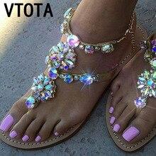 VTOTA Woman Sandals Crystal Chains Thong Gladiator