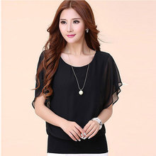 2017 New Fashion Lady Women's shirts Casual shirt Chiffon Short Tops Blouse