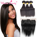 Wonder Beauty Hair Products 13x4 Ear To Ear Lace Frontal With Brazilian Hair Weave Silk Straight 3bundles Mixed Length Fast Deal