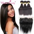 Wonder beauty hair products 13x4 orelha a orelha rendas frontal com Weave Brasileiro Do Cabelo de Seda Em Linha Reta 3 bundles Mista Comprimento Rápido lidar