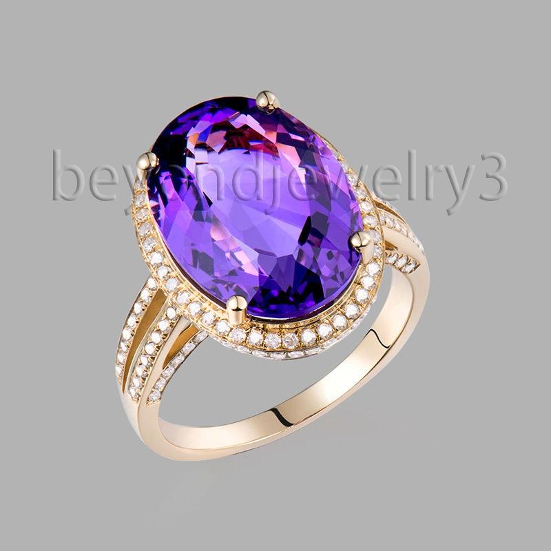 Big Oval 16x12mm Natural Amethyst Ring Diamond Gemstone Engagement