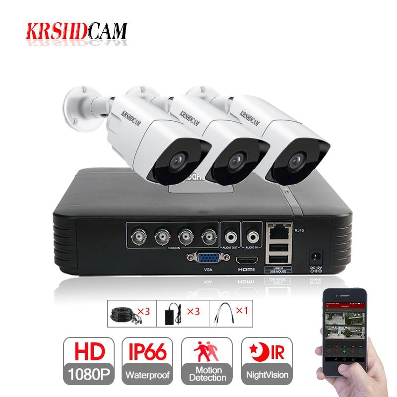 3CH AHD KIT 4CH 1080N DVR 3 pièces 1080 P SONY CCTV caméra IR étanche extérieure CCTV sécurité caméra système de Surveillance vidéo à domicile