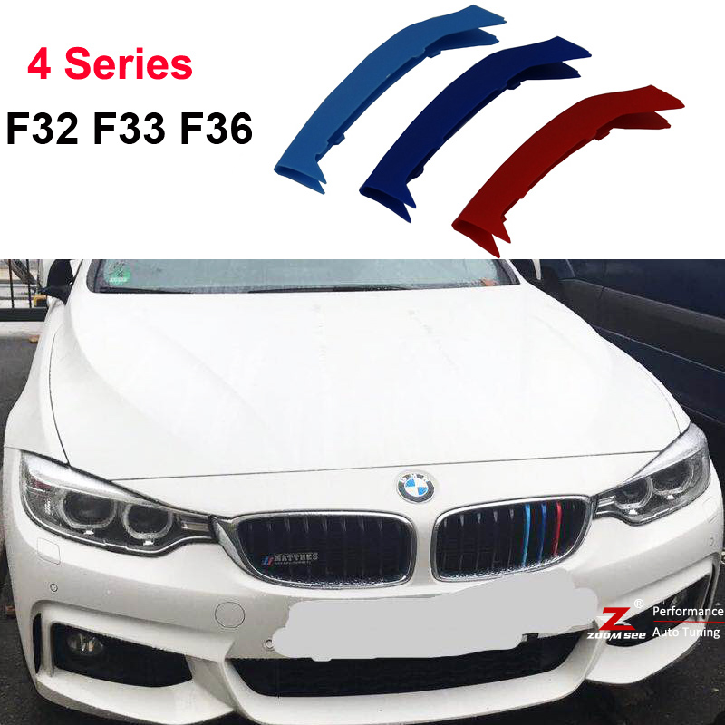 For 2014-2017 BMW 4 series F32 F33 F36 420i 420d 425i 430i 435i 440i 3D M motorsport Front Grille Strip grill Cover Stickers