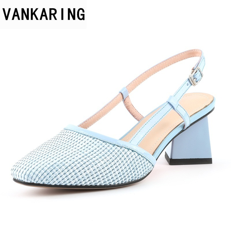 VANKARING 2018 summer fashion genuine leather shoes woman plaid strange style heel ladies office party sweet