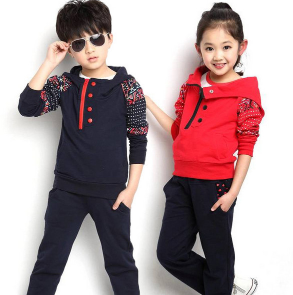 New Spring and Autumn Kids Boy Children Sports Suit girls Clothing Set 2 pcs Brand Hoodies + Long Pants for Boys aged 3-11 2015 new arrive super league christmas outfit pajamas for boys kids children suit st 004