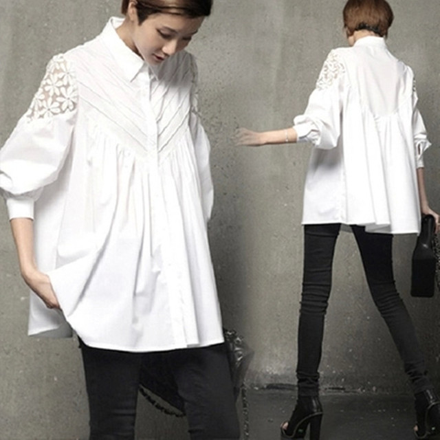 2016  Autumn New Lace Stitching Slim Shirt and Blouse Lantern Sleeve Loose Korean Hollow Out Female Tops Shirt Blouse