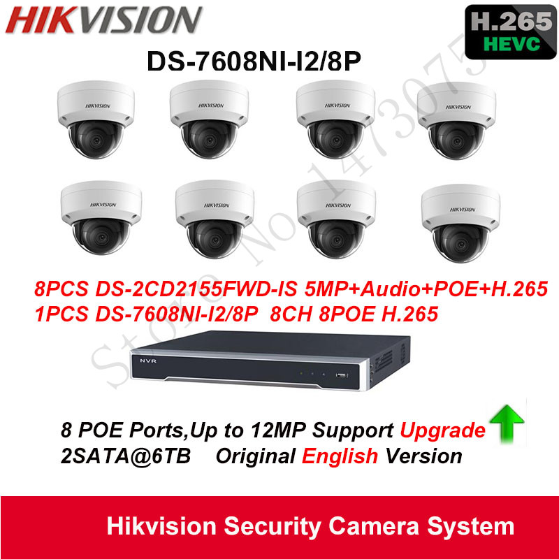 Hikvision Security Camera System 5MP H.265 IP Camera 8pcs DS-2CD2155FWD-IS POE Audio IP67 with 8ch POE H.265 NVR DS-7608NI-I2/8P hikvision original outdoor cctv system 8pcs ds 2cd2t55fwd i8 5mp h 265 ip bullet camera ir 80m poe 4k nvr ds 7608ni i2 8p h 265