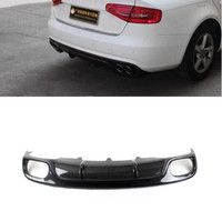 Carbon Fiber /ABS 4 Outlet Car Rear Bumper Spoiler Lip, Auto Car Rear Bumper Diffuser Cover For Audi B8 B9 A4 S4 2008 2015