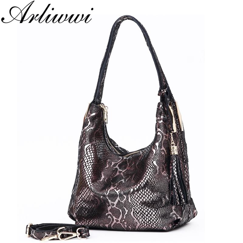 Arliwwi Luxurious Double Layer Newest Serpentine Pattern Embossed 100% Genuine Cow Leather Shoulder Bags Handbags Fashion B4340Arliwwi Luxurious Double Layer Newest Serpentine Pattern Embossed 100% Genuine Cow Leather Shoulder Bags Handbags Fashion B4340