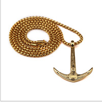 Vintage Jewelry Anchor Charm Pendant Necklace Rudder Fishhook Pendant Navy Army Nautical Jewelry Curb Chain Lover