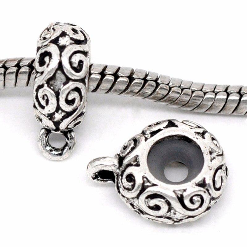 ₩10 unids Tono de plata de la nube patrón tallado tapones con caucho ...