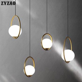 American Retro Glass Ball Led Pendant Lights Bedroom Bedside Hanglamp Art Deco Loft Restaurant Dining Room Kitchen Hanging Light