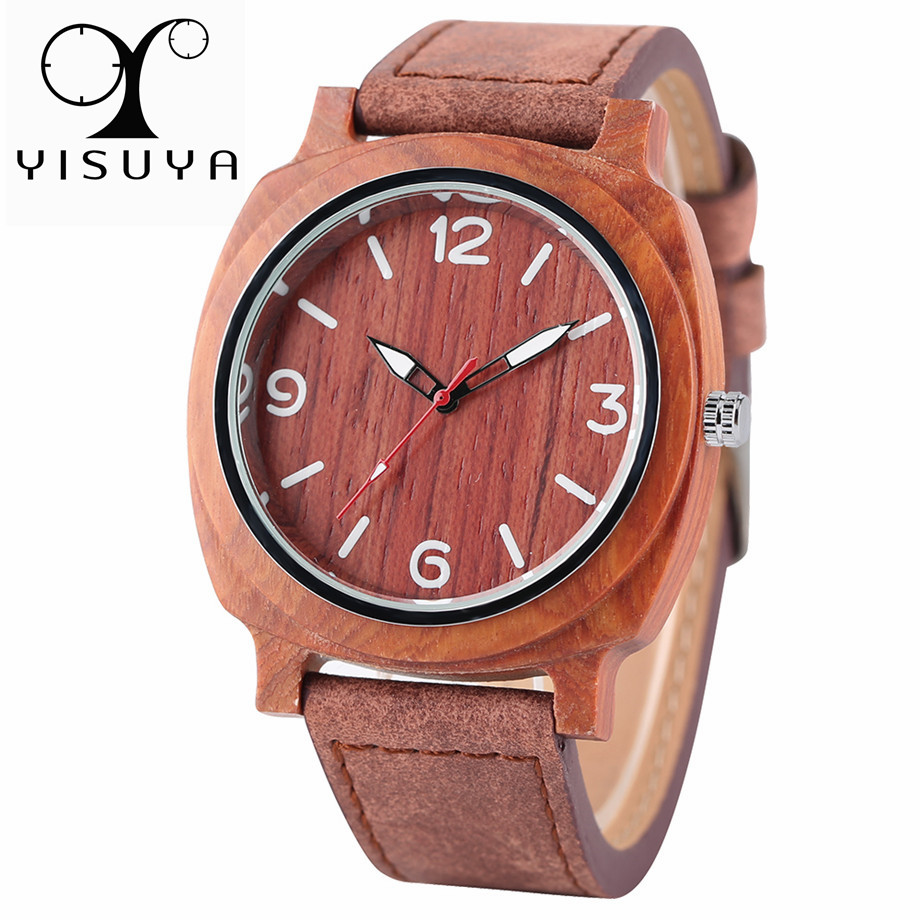 Nature Bamboo Wood Watch Men Sport Wooden Bangle Quartz Creative Watches Casual Timber Fashion Outdoor Mens Clock 2017 New Gift