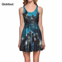 Qickitout платье мода плюс Размеры Для женщин темно-замок с привидениями волшебный свет Платья для женщин цифровой Короткое приталенное платье с принтом Vestidos оптовая продажа