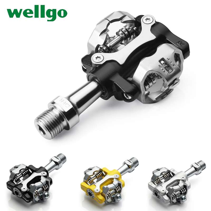 цена WELLGO W01 MTB Touring Bike Bicycle Clipless Light Pedals 9/16 CR-MO Spindle Sealed Cleats Compatible For SHIMANO SPD 294g