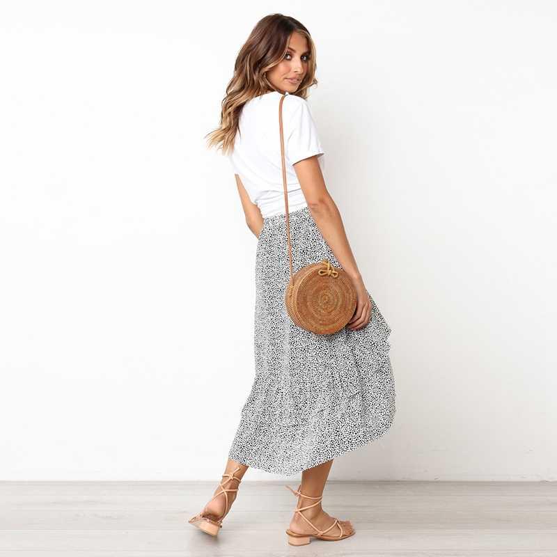 Kobiety moda Polka Dot spódnica trzy czwarte Casual wysokiej talii asymetryczne Ruffles warstwy długa spódnica czeski spódnica kobiet