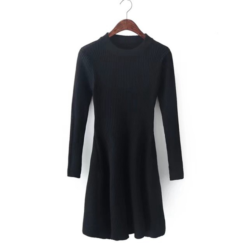 Autumn Winter Women Sweater Dresses New Fashion Knitted Dress O-Neck Long Sleeve Slim Solid Casual A-Line Knitting Dress zocept women s dresses solid full sleeve v neck a line mid calf soft cashmere knitted warm autumn winter female slim long dress