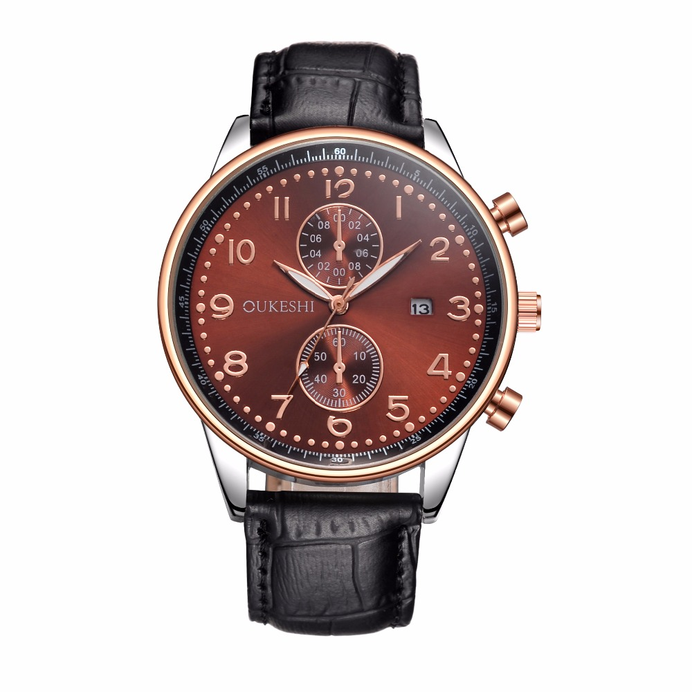 OUKESHI New Fashion Watch Men Leather Strap Calendar Golden Dial British Business Style Casual Quartz Watch