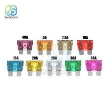 Fusible de hoja de tamaño medio para coche y camión, aleación de Zinc y Material plástico, 5A, 7.5A, 10A, 15A, 20A, 25A, 30A, 35A, 40A, 10 Uds.