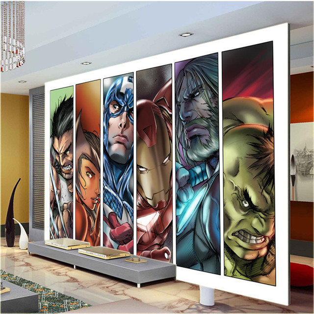 superhero wallpaper for bedroom. Comics Avengers Boys Bedroom Photo Wallpaper Mural Custom Super hero  Cartoon Room decor Children room