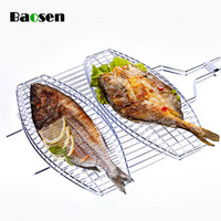 Baosen 1Pcs Stainless Steel BBQ Grill Meshes Double Fish Grill Mesh BBQ Accessories Kitchen Gadgets