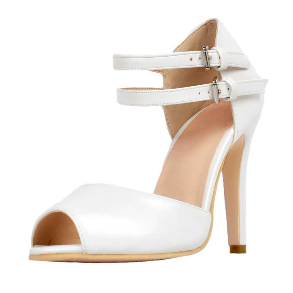 Womens sandals in size 12 - White Ankle Strap Open Toe Sandal Women High Heels Ol Summer Shoes Ladies Stilettos Heels Size