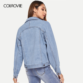 COLROVIE Blue Single Breasted Collar Pocket Ripped Jeans Jacket Denim Coat Women 2019 Spring Fashion Ladies Jackets Outerwear 1