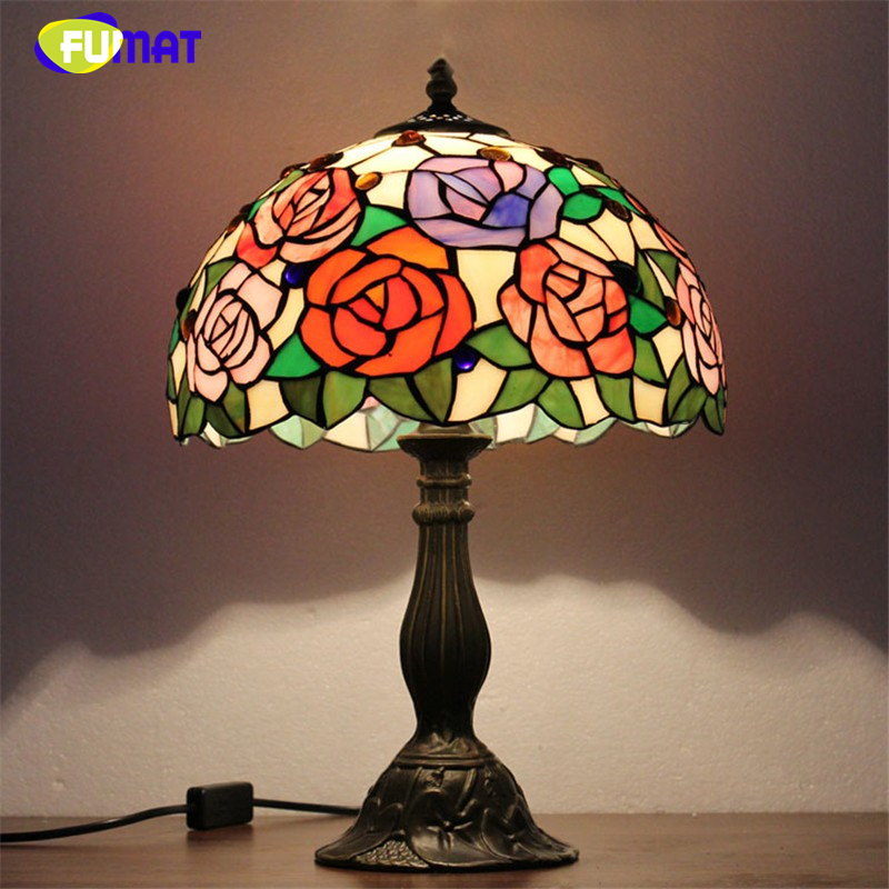 FUMAT Stained Glass Table Lamps Modern LED Glass Art Lamp European Style Minimalist Living Room Bed